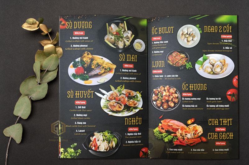 giá thiết kế menu